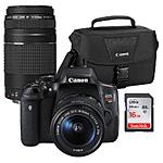Canon Rebel T6i Premium Kit w/ 18-55 75-300III 16GB Card and 100ES Bag