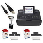 Canon SELPHY CP1300 Compact Photo Printer (Black) w/ KP-108 Cloth  and  Cable