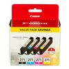 Canon CLI-271 Black Cyan Magenta and Yellow 4 Color Pack