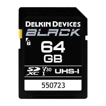 Delkin Devices 64GB SDXC Black UHS-I V30 U3 90MB/s Read 90MB/s Write