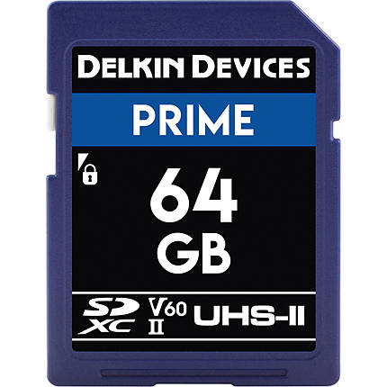 Delkin Devices 64GB Prime SDXC UHS-II V60 300MB/s Read 100MB/s Write