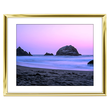 10x8 Custom Gold Metal Frame, White Mat with Glass