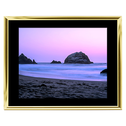 10x8 Custom Gold Metal Frame, Black Mat with Glass