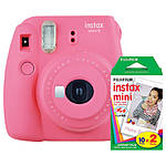 Fujifilm Instax Mini 9 Flamingo Pink Camera with Mini Film Twin Pack
