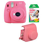 Fujifilm Instax Mini 9 Flamingo Pink Camera with Film  and  Groovy Case