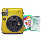 Fujifilm Instax Mini 70 Camera Canary Yellow  and  Instax Mini Film Twin Pack