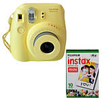 Fujifilm Instax Mini 8 Instant Film Camera (Yellow) with Twin Pack Film