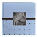 Pioneer 4 x 6 In. Baby Embroidered Frame Fabric Album 2-UP (200 Pages)-Blue