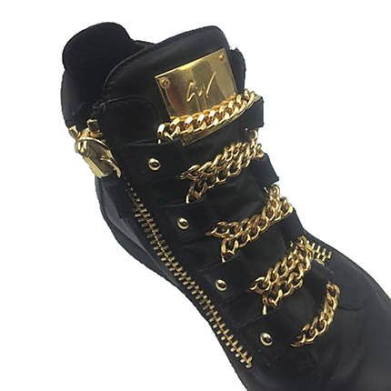 bbdb712910747 Giuseppe Zanotti Royce Gold Multi-Chain Sneakers Size 40 1/2 | Used ...