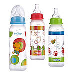 Nuby 8oz Clear Round with Silicone Nipple Printed Bottle
