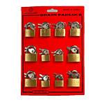 Brass Padlocks Assorted 25/30/35mm Assortment 12 Locks per Card